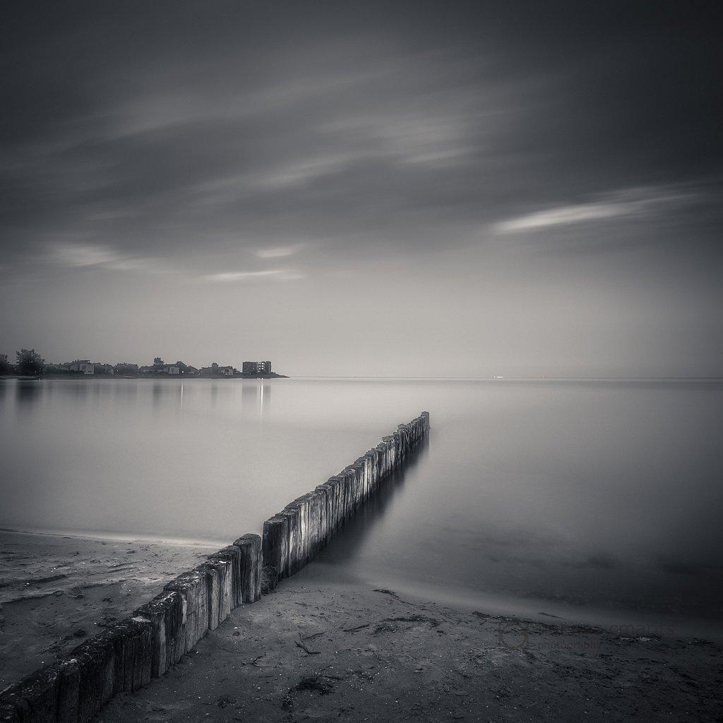 a foggy night at the sea