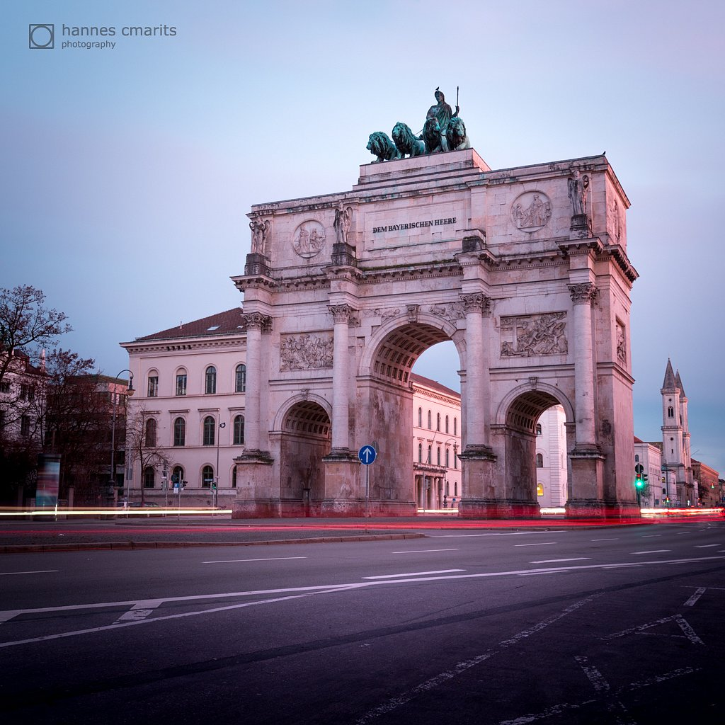 Munich - Siegestor at sunset
